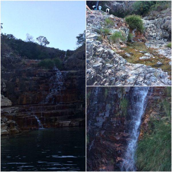 1- cascatinha onde o barco para 2-no primeiro lance da cascatinha 3-A queda da cachoeira na lagoa