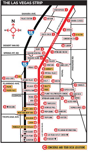 dicas de Las Vegas mapa strip